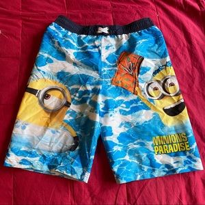 Despicable Me swim trunks large 14/16 yellow blue